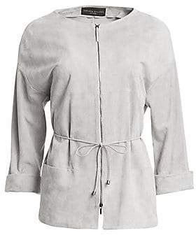 Fabiana Filippi Women's Suede Quarter-Sleeve Zip-Front Jacket