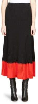 Alexander McQueen Pleated Colorblock Midi Skirt