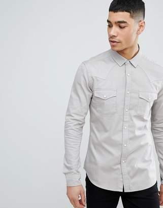 Asos DESIGN skinny western denim shirt in light gray