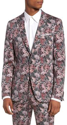 Topman Ultra Skinny Fit Hibiscus Print Suit Jacket
