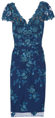 Marchesa Notte - Sequin-embellished Embroidered Tulle Dress - Navy $745 thestylecure.com