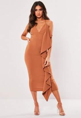 Missguided Tan Strappy Frill Side Bodycon Midi Dress
