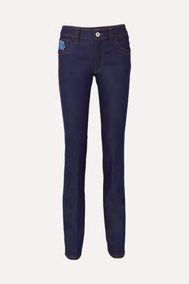 Prada Appliquéd High-rise Slim-leg Jeans - Indigo