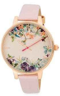 Ted Baker Stainless Steel Floral Leather-Strap Watch