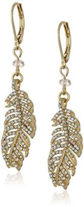 lonna & lilly Lonna and Lilly Crystals Feather Pierced Earrings