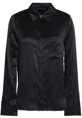 Cinq à Sept Lace-Trimmed Silk-Satin Shirt
