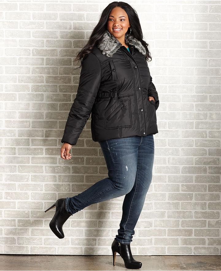 Dollhouse Plus Size Coat, Faux Fur Collar Puffer