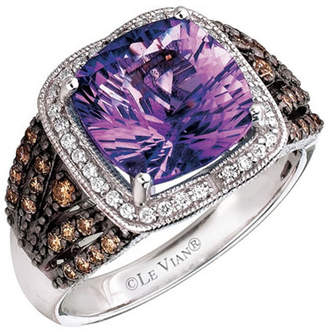 LeVian CORP Grand Sample Sale by Le Vian Grape Amethyst and Chocolate & Vanilla Diamonds Ring in 14k Vanilla Gold