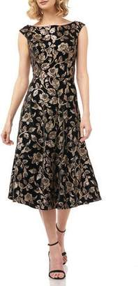 Kay Unger New York Alessia Floral Sequin Boat-Neck Cap-Sleeve Velvet Midi Dress