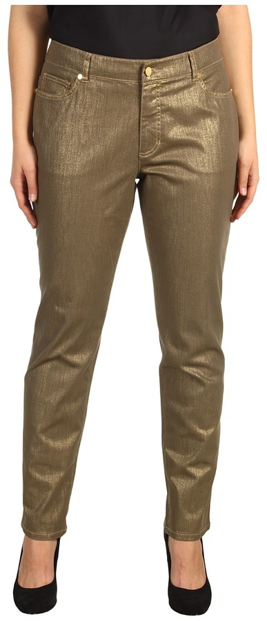Klein Plus Anne Plus Size Foiled 5-Pocket Jean in Gold Dust (Gold Dust) - Apparel