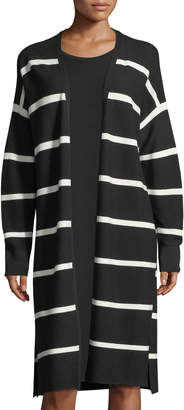 Lafayette 148 New York Matte Crepe Long Striped Cardigan