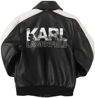 Karl Lagerfeld Logo Print Leather Bomber Jacket