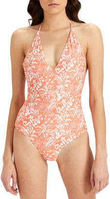 Onia Nina Deep-V Halter Printed One-Piece Swimsuit