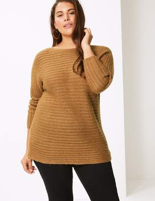 Marks and Spencer Curve Textured Round Neck 3/4 Sleeve Jumper