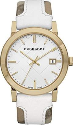Burberry BU9015 Women's Swiss Heymarket Check Fabric and Leather Band Dial Watch