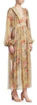 Zimmermann Melody Silk Puff Sleeve Dress