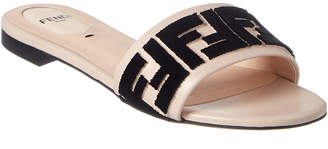 Fendi Ff Leather Slide Sandal