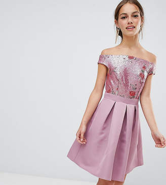 Little Mistress Petite bardot sequin top mini prom dress