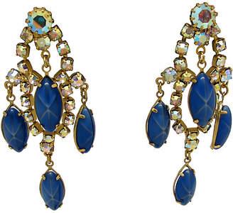 One Kings Lane Vintage Blue Glass Chandelier Earrings - Thanks for the Memories