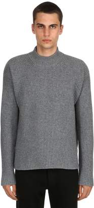 Wool & Cashmere Blend Rib Knit Sweater