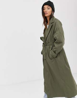 Weekday lightweight trench in khaki green