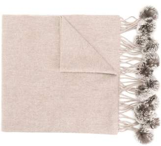 N.Peal fur-bobble knitted scarf
