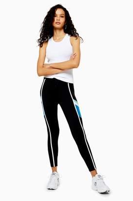 Womens Stripe Leggings By Hiit - Black