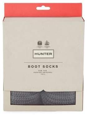 Hunter Ribbed-Cuff Fleece Welly Socks