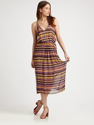 Joie Striped Silk Racerback Dress