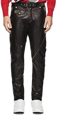Moschino MEN'S BELTED LEATHER BIKER TROUSERS - BLACK SIZE 46 EU