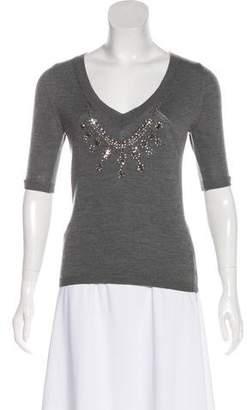 Blumarine Virgin Wool Short Sleeve Knit Sweater