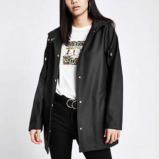 River Island Womens Black waterproof hooded rain mac