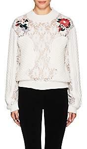 Vivetta Women's Hatta Lace & Knit Sweater - Cream Size 44 It