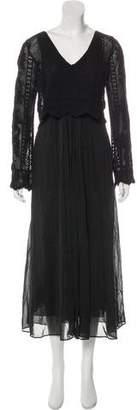 Giada Forte Lace-Accented Maxi Dress w/ Tags
