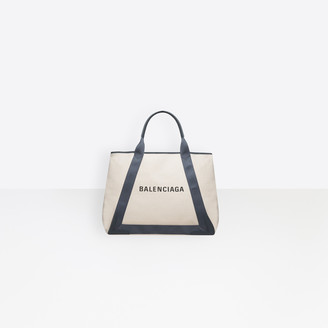 Balenciaga Large size cotton canvas and calfskin tote bag
