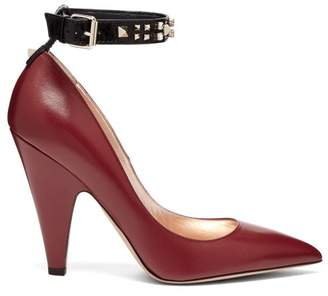 b38c55b2253 Valentino Rockstud Ankle Strap Leather Pumps - Womens - Burgundy