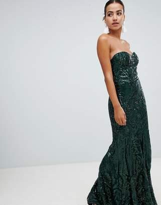 Club L embellished sequin strapless fishtail maxi dress