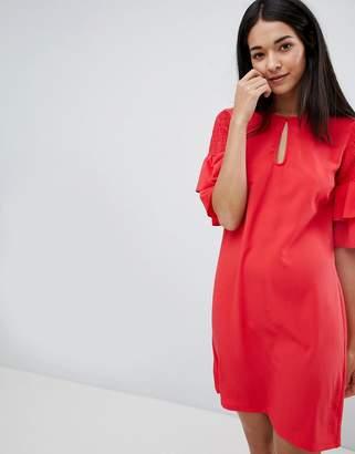 Vila Keyhole Dress With Tiered Sleeve