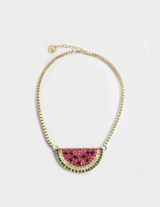 Anton Heunis Watermelon Necklace in Fuchsia and Green Metal