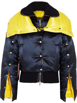 Versace - Wool-paneled Two-tone Quilted Shell Down Jacket - Navy