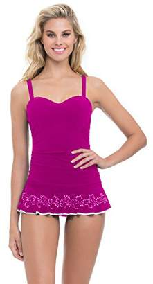 Gottex Profile by Women's D-Cup Solid Laser Cut Swimdress One Piece Swimsuit
