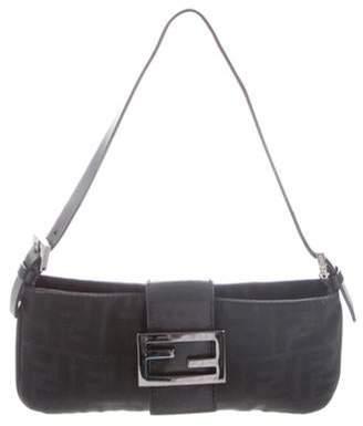 Fendi Leather-Trimmed Zucca Baguette Black Leather-Trimmed Zucca Baguette