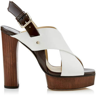 Jimmy Choo AIX/PF 125 Latte Mix Vachetta Leather and Patent Strap Sandal