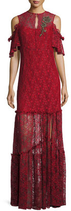 Nanette Lepore Embellished Cold-Shoulder Lace Gown, Crimson $628 thestylecure.com