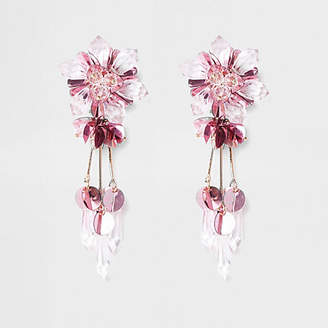 River Island Pink bead and sequin flower clip on earrings