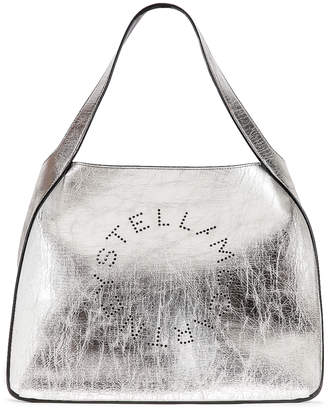 Stella McCartney Logo Metallic Tote in Silver | FWRD