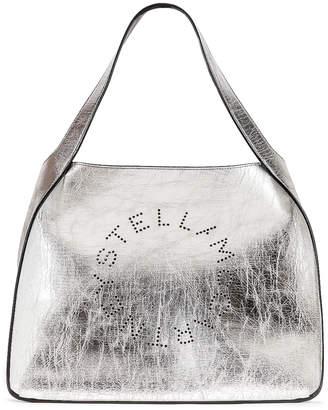 Stella McCartney Logo Metallic Tote in Silver  aa46270feacf0