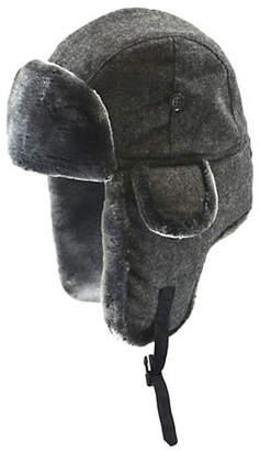 Black Brown 1826 Faux Fur-Trimmed Tweed Aviator Cap