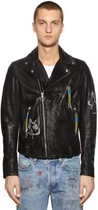 Diesel Graffiti Painted Leather Biker Jacket