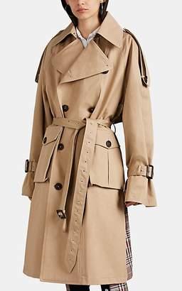 BEIGE BLINDNESS Women's Oversized Patchwork Plaid Trench Coat - Beige, Tan